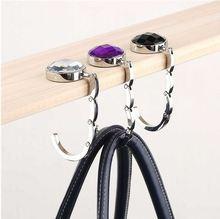2016 Fashion Portable Folding Rhinestone Crystal Alloy Purse Handbag Bag Hanger Hook Holder Purple (China (Mainland))