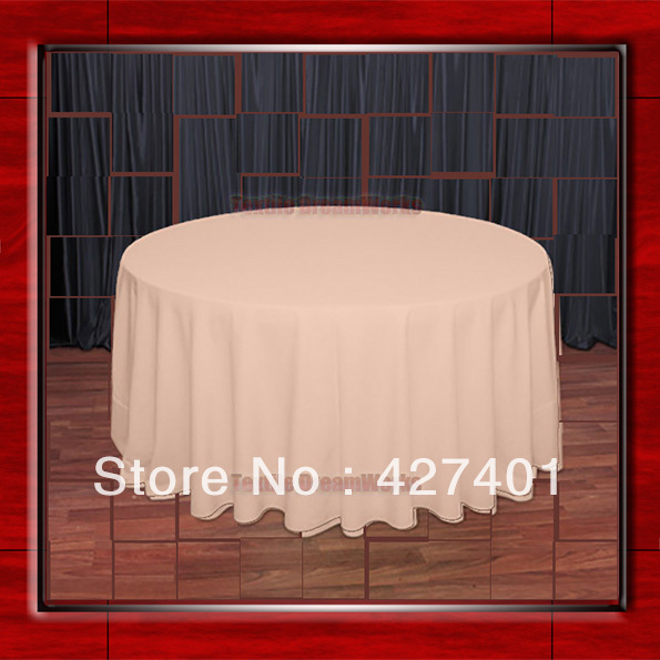 "Hot Sale 132"" R Peach Round Table Cloth Polyester Plain Table Cover for Wedding Events &Party Decoration(Supplier)(China (Mainland))"