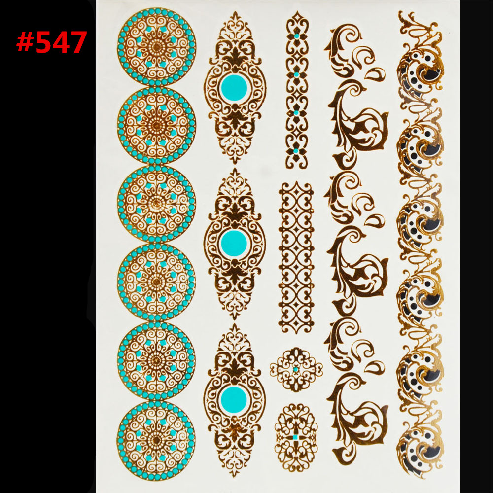 Hot sex products body art tattoo disposable Indian gold flash temporary tattoos