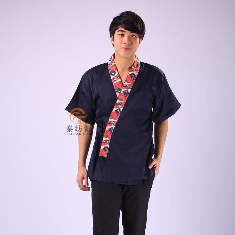 Customized Korea Kimono Japanese Sushi unisex chef master blue uniform plus size kitchen food cooking short sleeve jacket wear(China (Mainland))