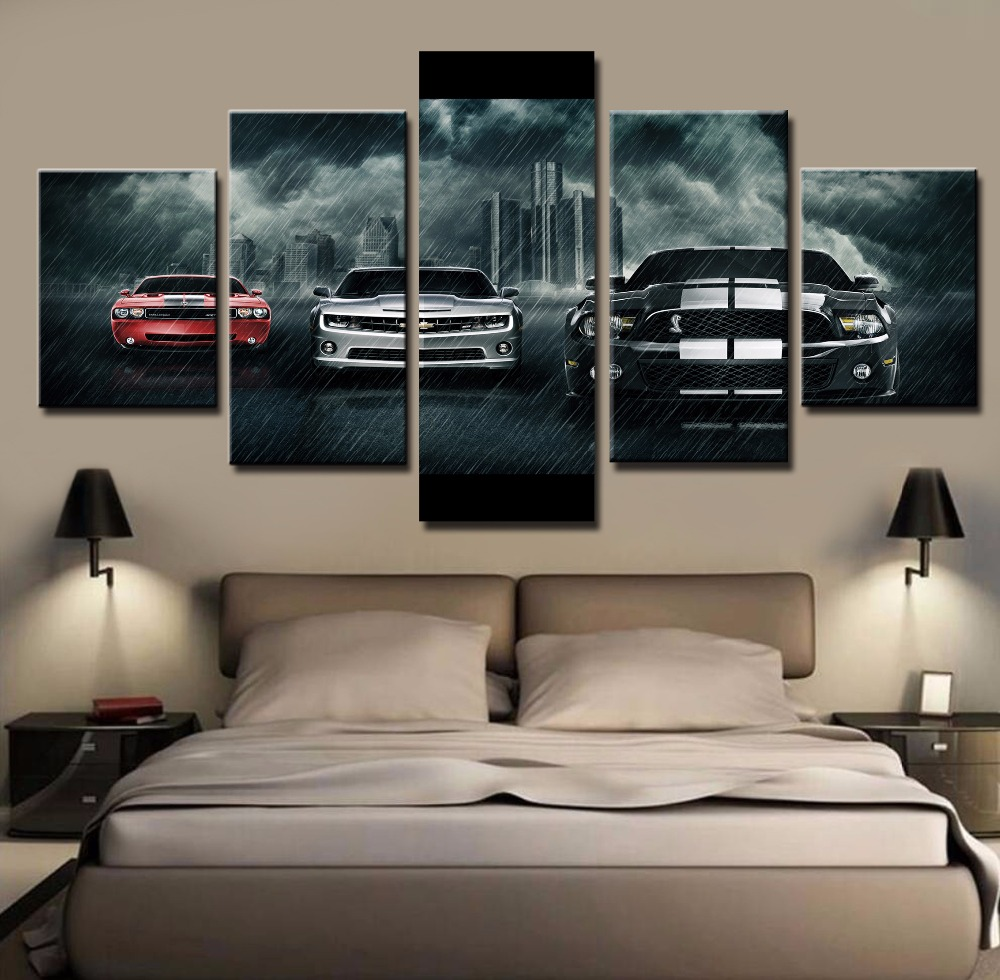 5 piece canvas art large ford mustang shelby car cuadros decoracion paintings on canvas wall art for home decorations wall decor