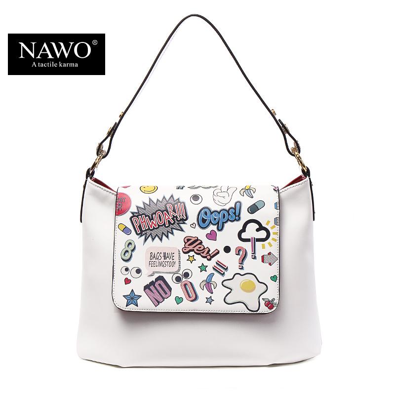 NAWO New 2016 Women Bag Famous Brand Handbags Leather White Bag Cartoon Printing Bucket Bag Fashion Ladies Shoulder Bags Brand(China (Mainland))
