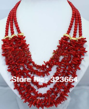 Fashion 6 rows red coral branch rhinestone necklace(China (Mainland))