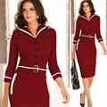 2016 New Autumn Women Fashion Sexy Slim Pure Solid Lantern Sleeve Reach Knee Pencil Party Dress  Size Plus