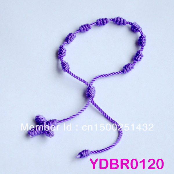 (Min Order is $10) 6 PCS Purple Decenario Knotted Rosary Stylish Pulseras Trendy Celebrity Bracelet Free Ship YDBR120 For Gift(China (Mainland))
