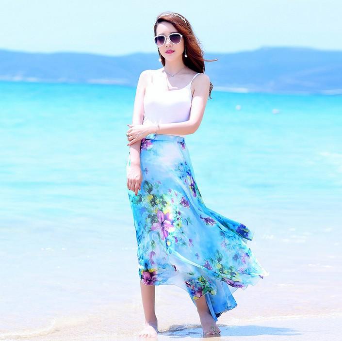 Wholesale Women's Chiffon Long Mopping Pleated Skirt Beach Skirt Europe America 2015 New Spring Summer Maxi Skirts for Women