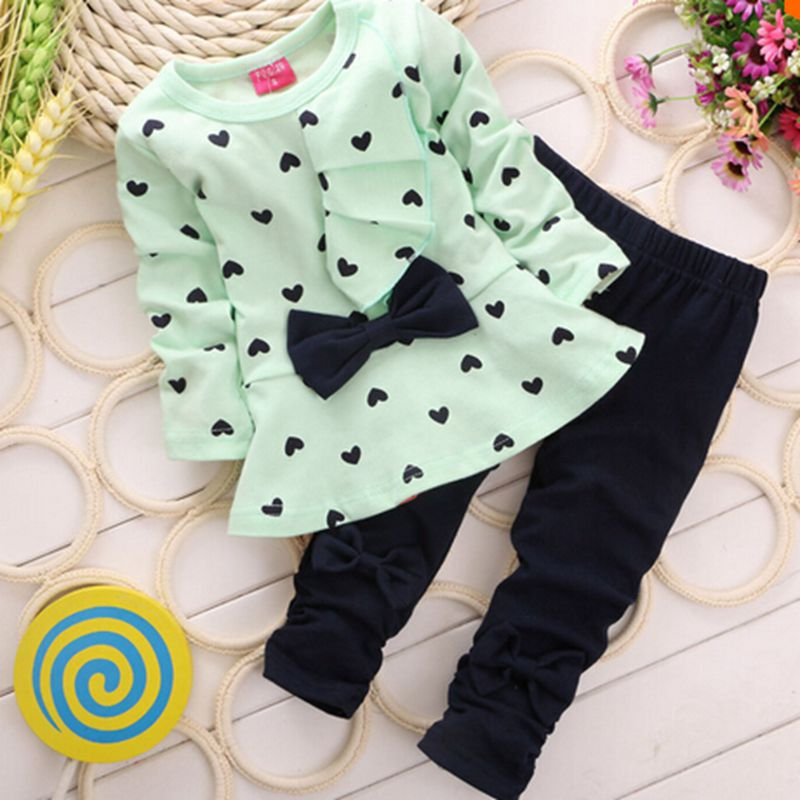 Heart-shaped Print Bow Cute 2PCS Cloth Set Children Cloth Suit Baby Girl Clothing Set Top T shirt + Pants High quality<br><br>Aliexpress