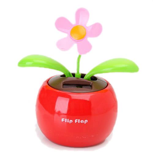 EDFY Flip Flap Solar Powered Flower Flowerpot Swing Dancing Toy - Red(China (Mainland))