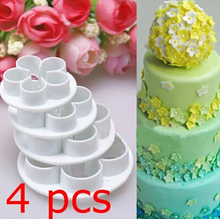 Free shipping 4 pcs rose pattern shape Plastic cake cookie cutter biscuit machine plunger paste sugar decoration mold 020069(China (Mainland))