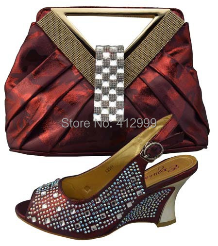 Free Shipping 2014 New design wine red 8cm high heel african italian shoes and matching bags for wedding party evening(China (Mainland))