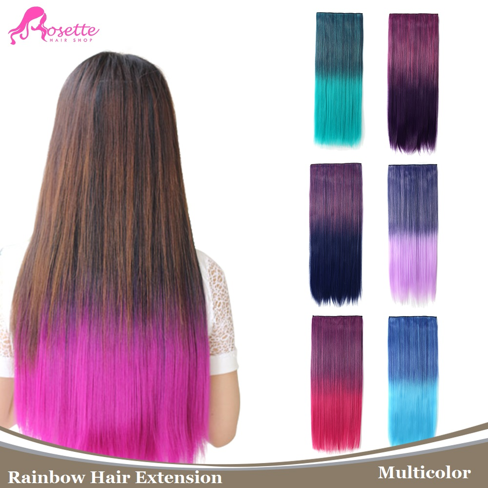 "Rainbow Hairpiece Long Straight Ombre Two Tone 5 Clip In Hair Extension 150g 24"" Gradient Synthetic Color Hair For Cosplay(China (Mainland))"