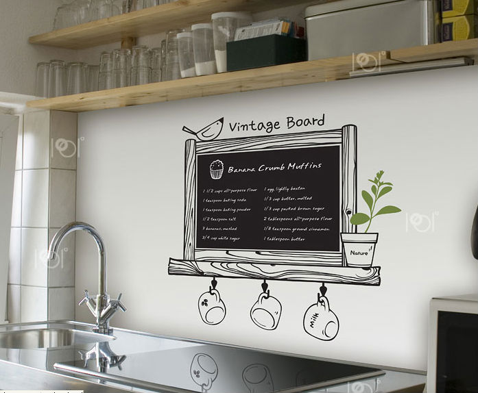 Vinyl chalkboard wall stickers wallpaper kitchen chalk for Kitchen print wallpaper