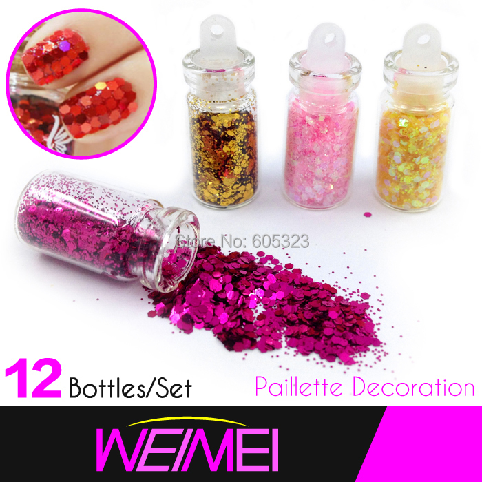 Nail Glitter Powder Paillette 12colors per set, Glitter Acrylic Powder Dust For Nail Art Tips(China (Mainland))