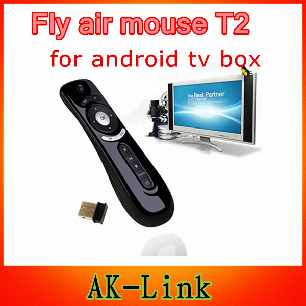 Gyroscope mini Fly Air Mouse T2 2.4G Wireless Keyboard Mouse Android remote control 3D for iptv android tv box mag 250 cs918t(China (Mainland))