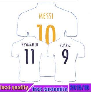 NEW messi women men Soccer Jersey 2015 2016 HOME Uniforms RONALDO BALE JAMES NEYMAR JR MESSI SUAREZAINIESTA 15 16 Football Shirt(China (Mainland))