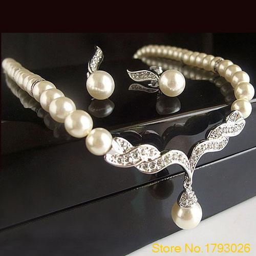Bridal Angel Wings Faux Pearls Necklace Studs Earrings Jewelry Set for Wedding