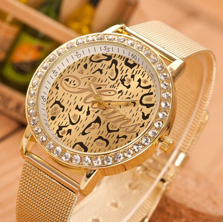 NEW Metal Watch Women Leopard Brand Wristwatch Animal Print Wristwatch Quartz Watch(China (Mainland))