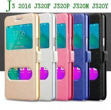 Double Window View Flip Wallet Cover Leather Case For Samsung Galaxy J3 2016 J320F J320P J320M J320Y Touch Answering Cover Case(China (Mainland))