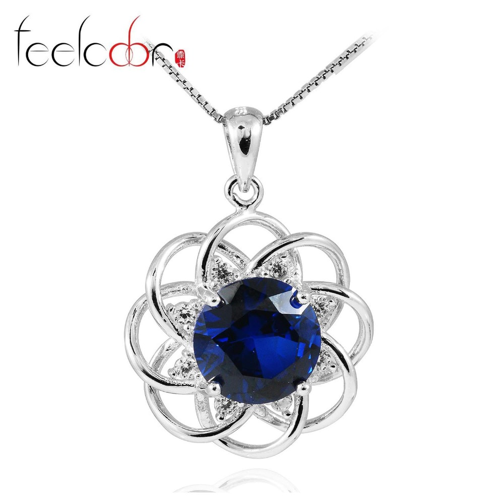 High Quality Gem 5.5ct Blue Sapphire Flower Pendant 925 Solid Sterling Silver Round Cut Jewelry For Women Wedding Best Gift Hot <br><br>Aliexpress