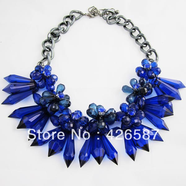 Purple blue Fashion brand handmade flower crystal chunky beads collar choker statement necklace acrylic jewelry 2013 women - Yiwu M Queen Jewelry Factory store