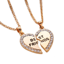 Gold Silver Heart Puzzle Pieces Friendship Necklace Crystal  Best Friends Letter Pendant Necklace For Girl Boy P1167(China (Mainland))