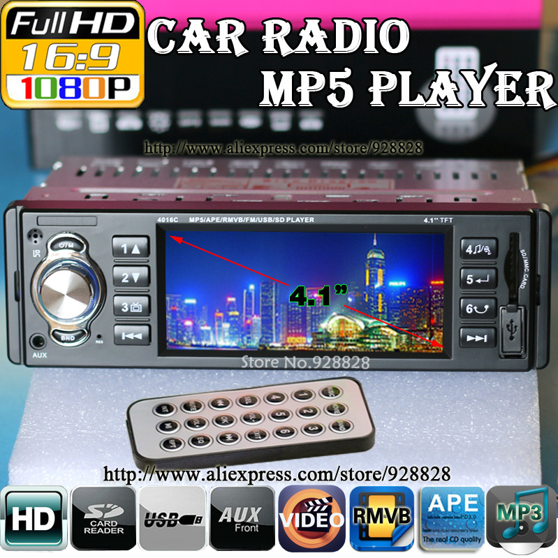 "NEW 4.1"" TFT HD Digital Car Stereo FM Radios MP3 MP4 MP5 Audio Video Media Players with USB/SD MMC Port Car Electronics In-Dash(China (Mainland))"
