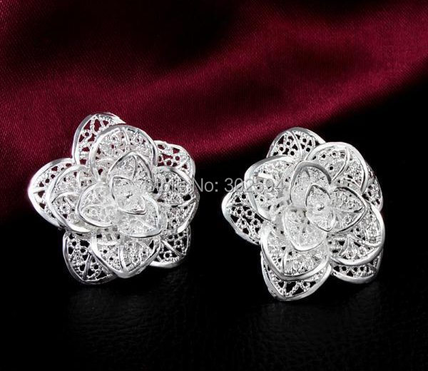 factory promotions wholesale Price Beautiful Flower 925 sterling silver WOMEN STUD earring high quality fashion classic jewelry(China (Mainland))