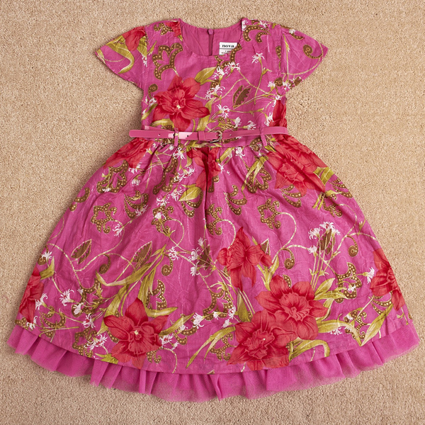 Free shipping high quality NWT 5pcs/lot European style short sleeve leather belt floral princess dress with lace hem, two colors