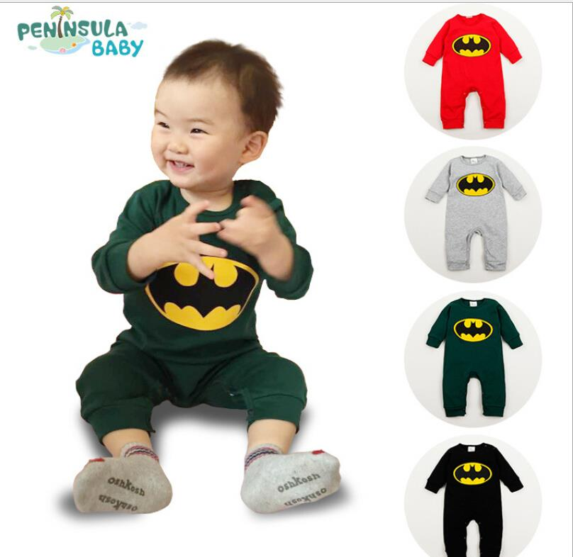 Baby Boy Romper batman Long Sleeve with Smock Halloween Christmas Costume Gift Boys Rompers Spring Autumn Clothing Free Ship(China (Mainland))