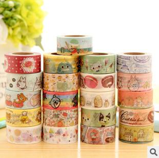 Cute Cartoon Animals Rilakkuma Totoro Fresh Style Washi Tape Adhesive Masking Tape Decorative DIY Stick Label Escolar Papelaria(China (Mainland))
