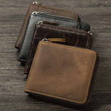 Vintage Casual 100% Genuine Crazy Horse Leather Cowhide Men Male Zipper Short Wallet Wallets Purse Coin Bag Pocket Card Holder