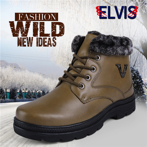 ELVIS Brand genuine leather dress boots Men casual round toe lace Winter Mens shoes plus size fashion martin