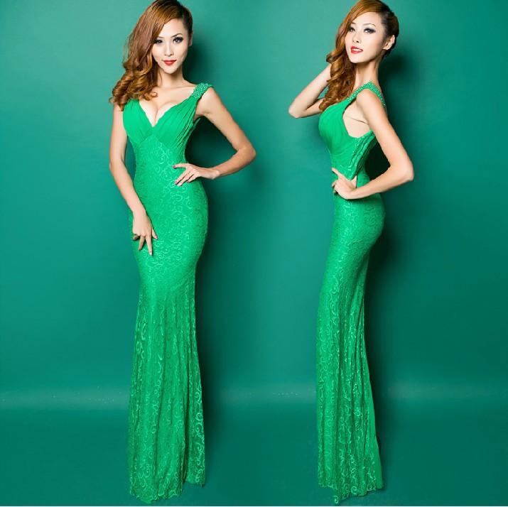 2015 Free shipping Lace V-neck Party Gowns Formal Long Evening dresses vestido de festa robe de soiree Robe de soiree H0540(China (Mainland))