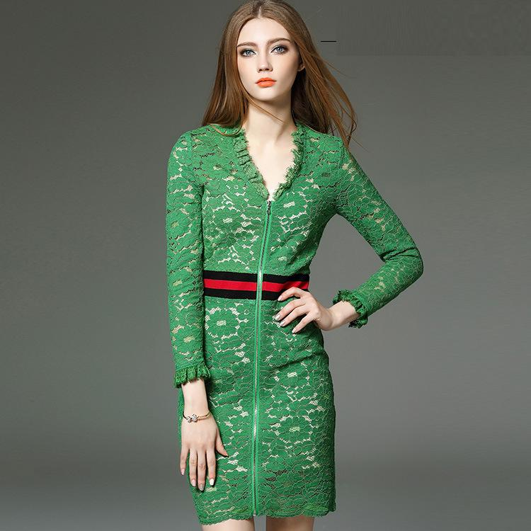2016 New Style Spring Summer Dress Women Ruffles V-Neck Front Zip Slim Fit Bodycon Brief Lace Dress Sexy Club Ladies Green Dress