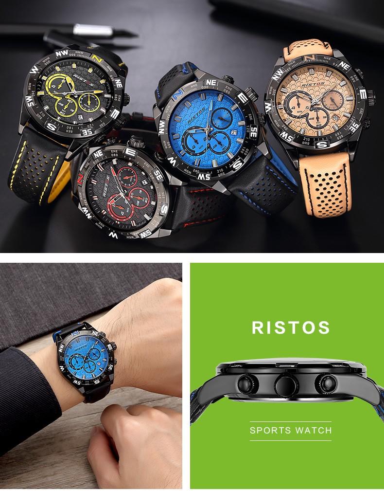 RISTOS Открытый Спорт Мужчины Смотреть Хронограф Календарь Кварц Кожа Часы Мужчины Военная Мода Дата Наручные Часы Повседневная Relojes