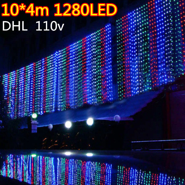 wholesale price DHL 10m*4m 1280LEDs lights flashing lane LED String lamps curtain icicle Christmas home garden festival lights(China (Mainland))