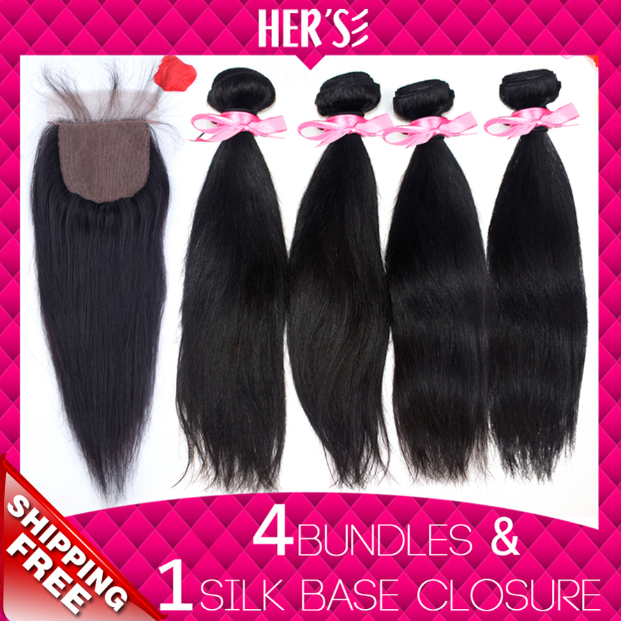 HERS Hair Weft With Closure Peruvian Virgin Hair Straight Peruvian Virgin Hair With Closure 4 Bundles With Closure Peruvian Hair<br><br>Aliexpress