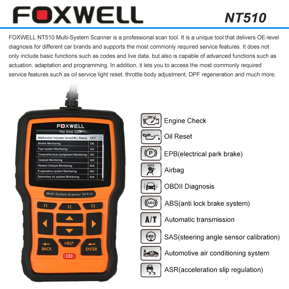 FOXWELL NT510 OBD OBDI OBDII Car Diagnostic Scan Tool Multi-system Scanner Code Reader Scanner Read and Clear Trouble Codes(China (Mainland))