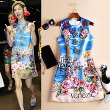 New Fashion Women Summer Dress 2016 Runway European Designer Sleeveless Print Diamonds party style dress