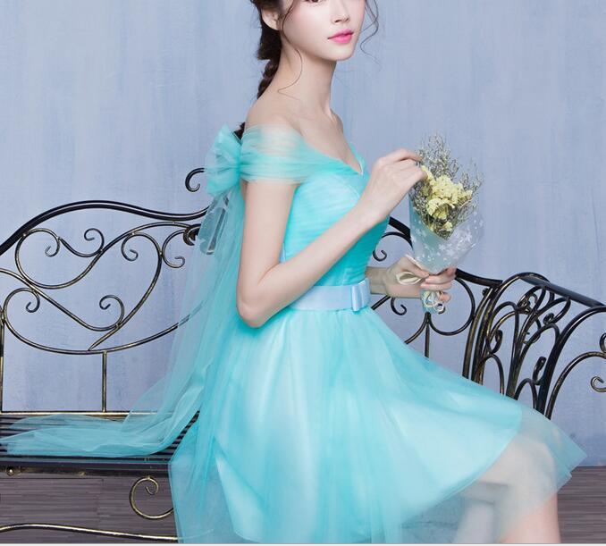 2016 Elegant goddess 6 styles ball gown blue short bridesmaid dresses wedding party dresses(China (Mainland))