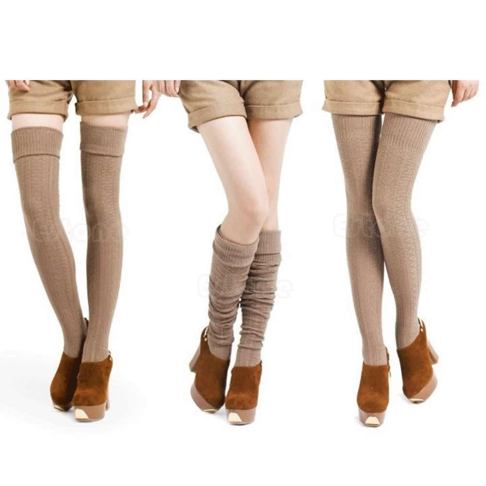 Женщины леди мода колено высокого ног копить банкет зимние вязать вязания ноги теплые