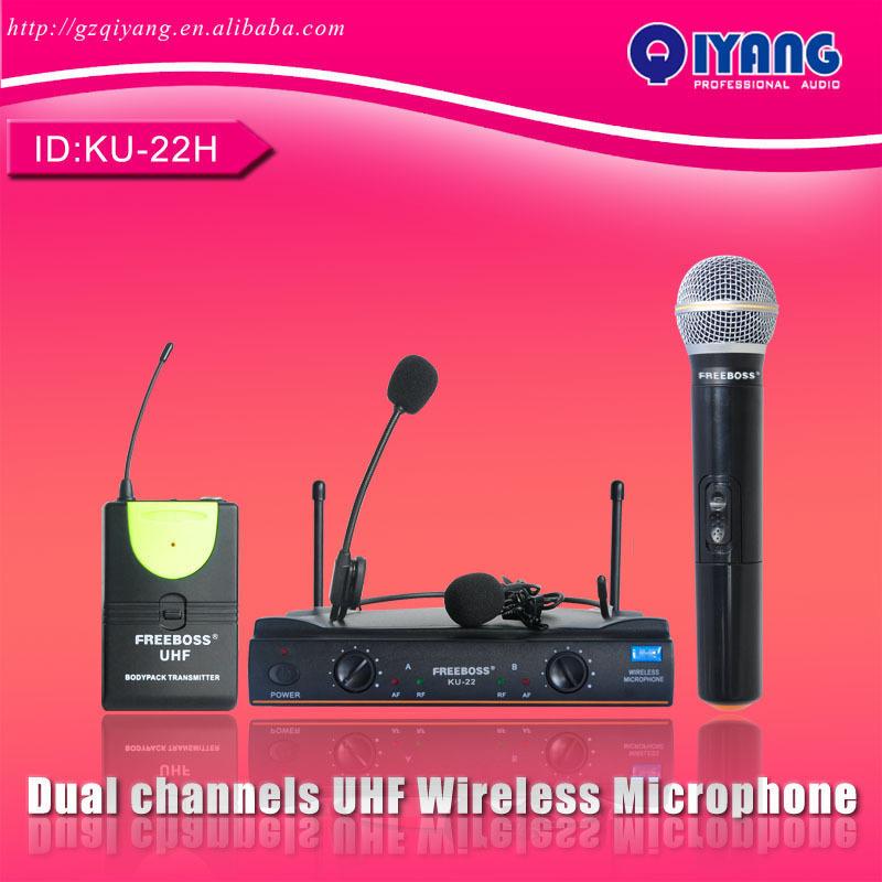 UHF Dual Channel Mic Transmitter Professional Karaoke Wireless Headset + Lapel + Handheld Microphone consumer electronic KU-22H(China (Mainland))