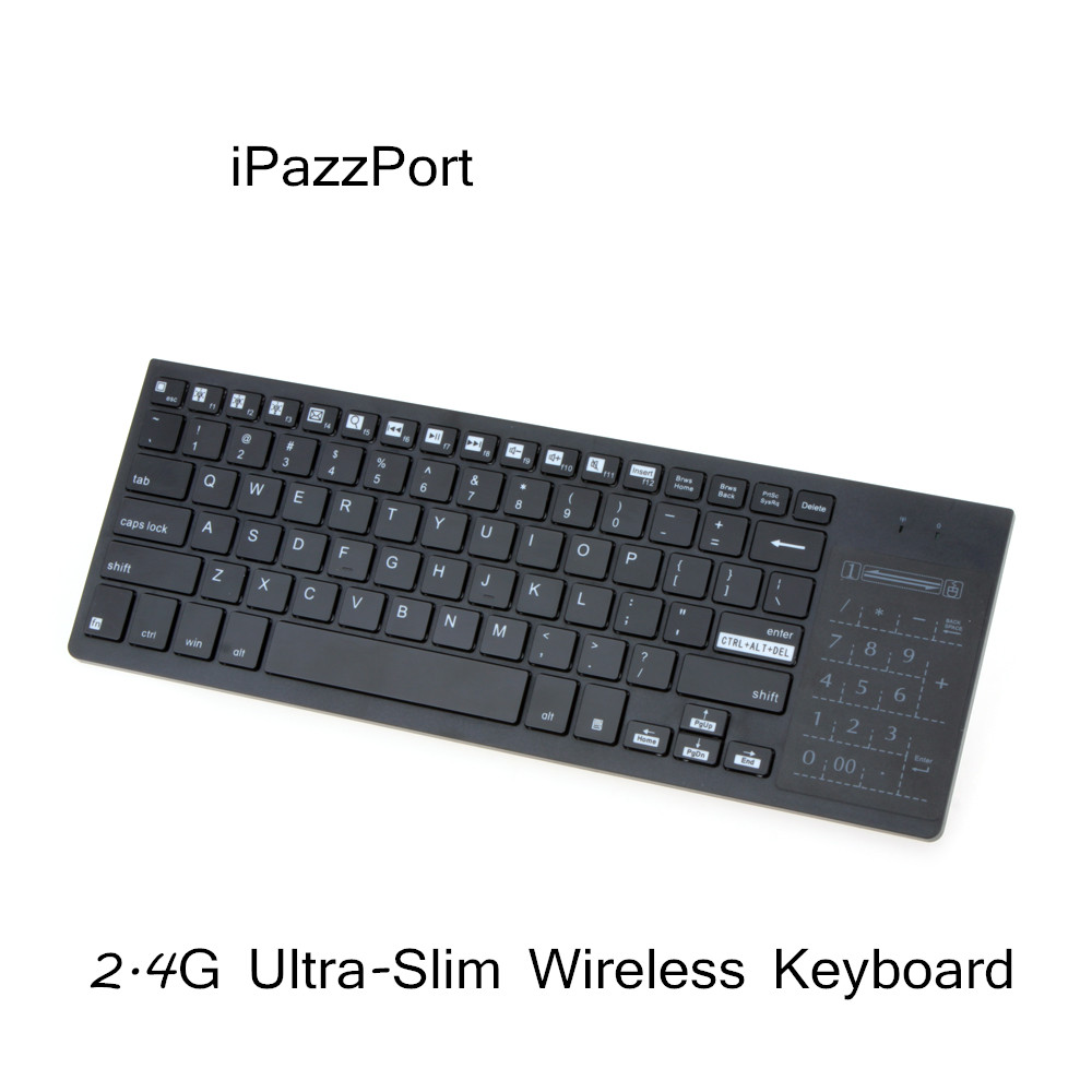 iPazzPort 2.4G Slim Wireless Keyboard with Touchpad Multi-color Backlight for Laptop Computer Android TV Box Multi Media(China (Mainland))
