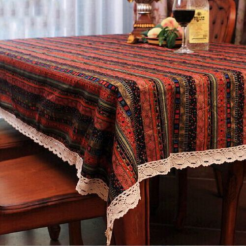 Home textile Small and pure and fresh romantic pastoral style table cloth lace cotton print fabric dining table cover wholesale(China (Mainland))