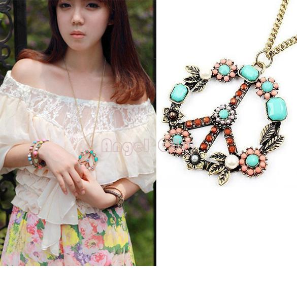 Best Price New Fashion Style Vintage Jewlery Peace Sign Inserting Colorful Beads Necklace Dropshipping B003 4561(China (Mainland))