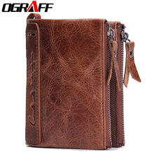 OGRAFF Brand men wallets dollar price purse Genuine leather wallet card holder designer clutch business mini wallet high quality(China (Mainland))