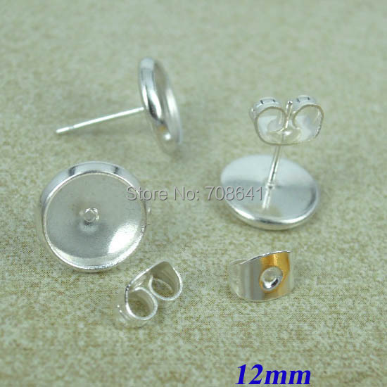 12mm Silver Plated brass Round Bases Bezel Cabochon Earrings Post Stud w/ Earnut Stoppers Backing Settings DIY Findings(China (Mainland))