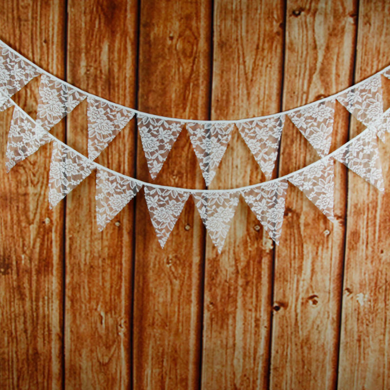 Free shipping!12 flags 3.2m high-quality white lace cotton fabric banner banner flags garland western wedding decorations(China (Mainland))