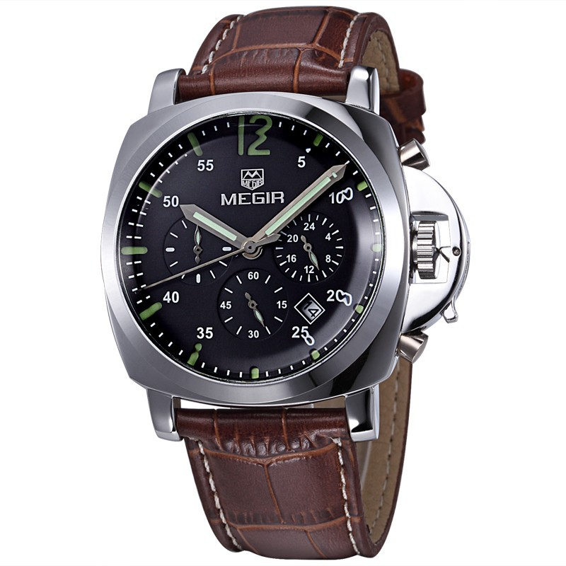 male casual watch luxury genuine leather strap men quartz watches chronograph 24 hours