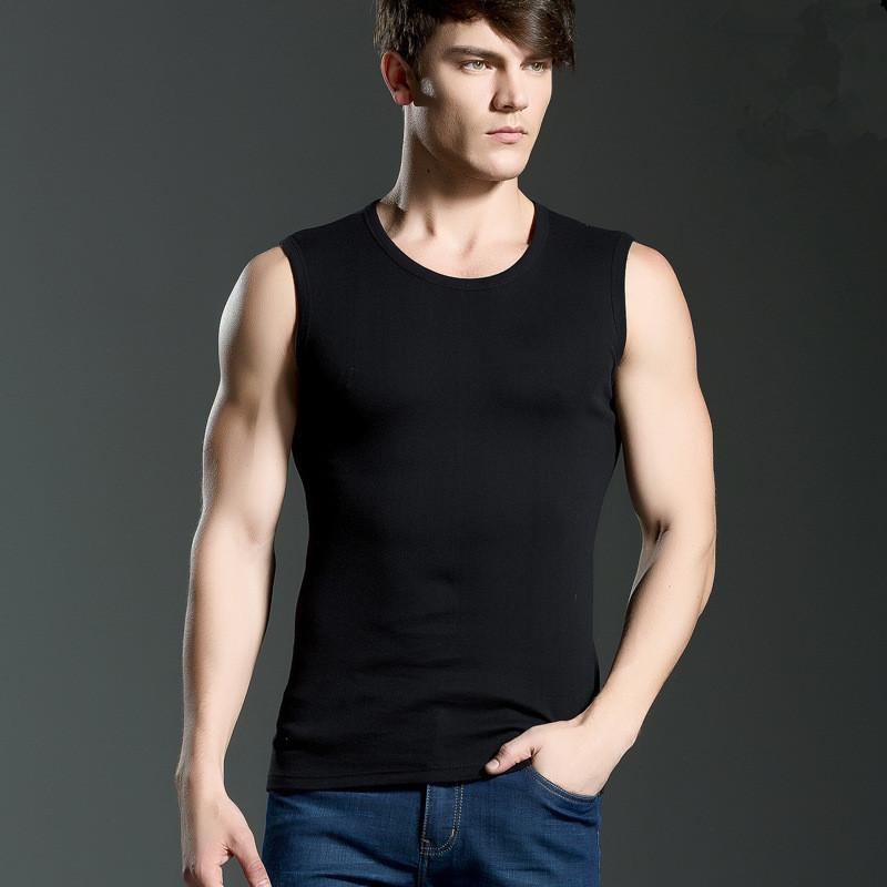 O neck/V Neck Men Wide Shoulder Sleeveless Vest Cotton Soft Tank Tops Hot Sale Elastic Undershirt(China (Mainland))